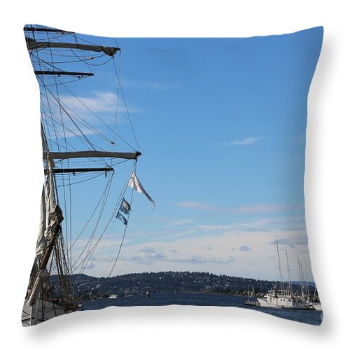 Oslo Throw Pillow featuring the photograph Ships In Oslo Harbor by Carol Groenen