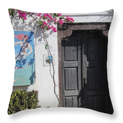 Elaine Haakenson Throw Pillow featuring the photograph Shop On The Corner Santorini by Elaine Haakenson