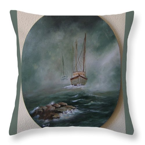 Seascape Throw Pillow featuring the painting Shrimp Boats Coming by Mark Perry
