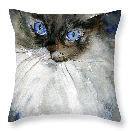 Fine Art Throw Pillow featuring the painting Siamese Gaze By Schulmanart by Miriam Schulman