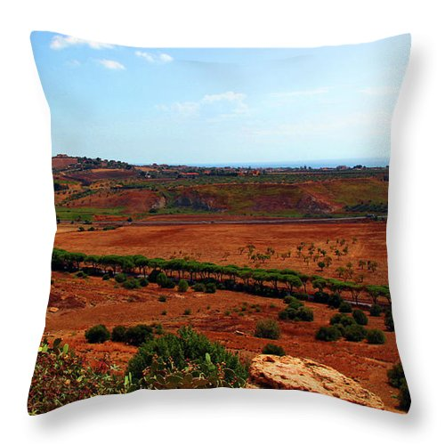 Sicily Throw Pillow featuring the photograph Sicilian Landscape by Madeline Ellis