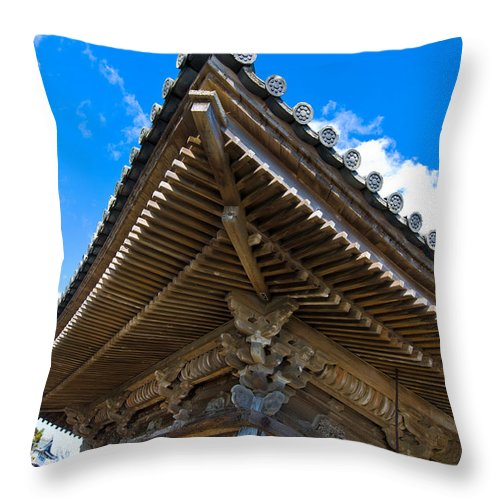 Ancient Throw Pillow featuring the photograph Side View On A Teahouse In Japan by U Schade