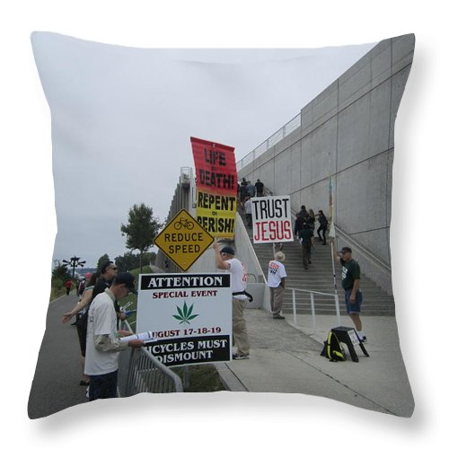 The City Throw Pillow featuring the photograph Sign Of The Times by Kym Backland