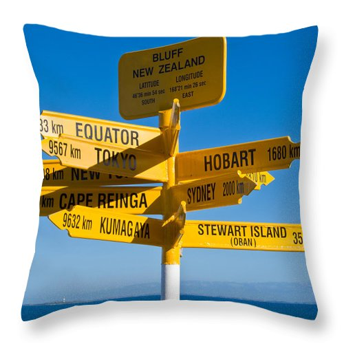 Arrow Throw Pillow featuring the photograph Sign Post In Sterling Point Bluff by U Schade