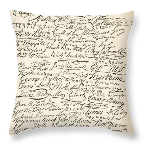 Signatures Attached To The American Declaration Of Independence Of 1776 Throw Pillow featuring the painting Signatures Attached To The American Declaration Of Independence Of 1776 by Founding Fathers