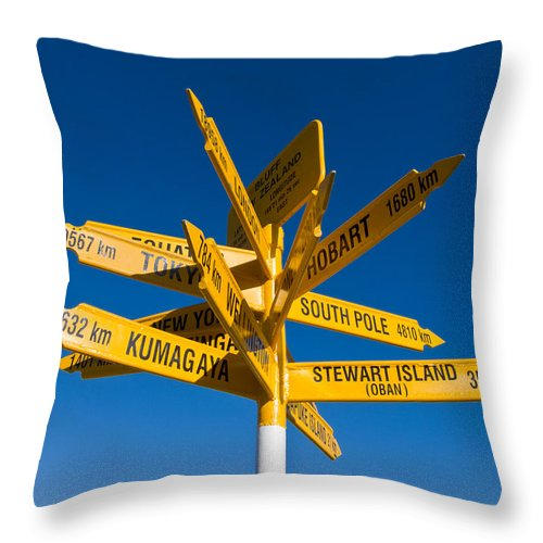 Arrow Throw Pillow featuring the photograph Signpost In Sterling Point Bluff by U Schade