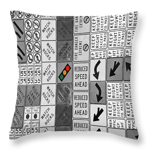 Signs Throw Pillow featuring the photograph Signs Black And White by Phyllis Denton