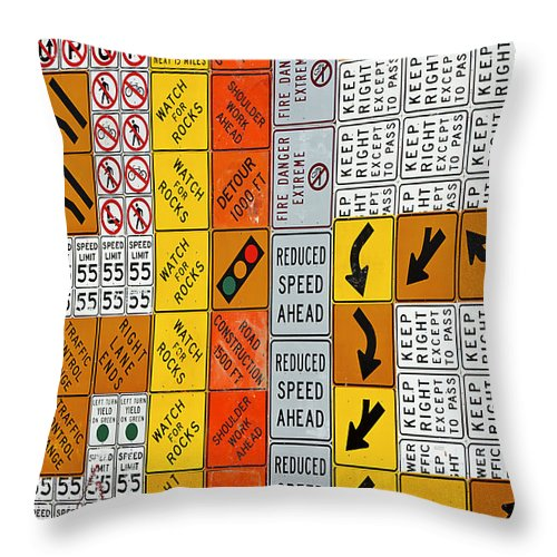 Signs Throw Pillow featuring the photograph Signs by Phyllis Denton