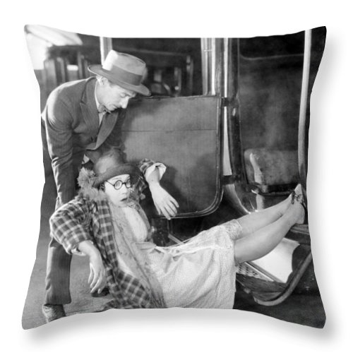 -accidents- Throw Pillow featuring the photograph Silent Film Still: Accidents by Granger