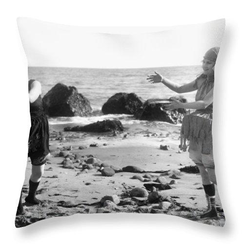 -beaches- Throw Pillow featuring the photograph Silent Film Still: Beach by Granger