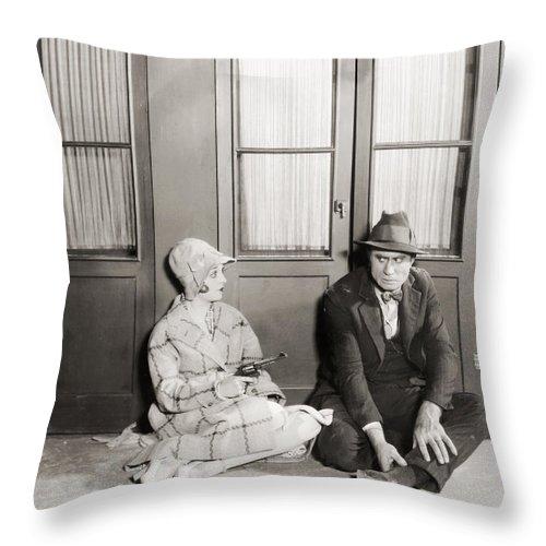 -guns- Throw Pillow featuring the photograph Silent Film Still: Guns by Granger
