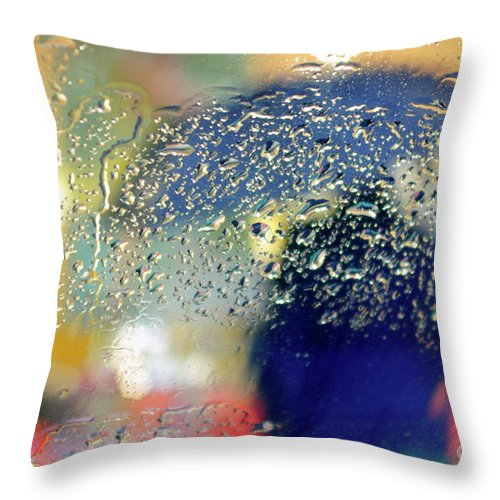 Abstract Throw Pillow featuring the photograph Silhouette In The Rain by Carlos Caetano