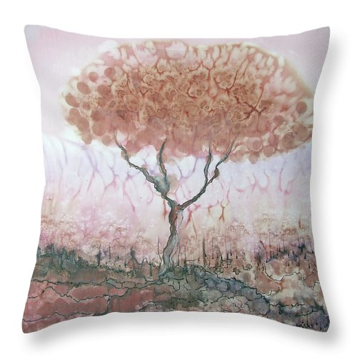 Silk Throw Pillow featuring the painting Silk Tree In Brown And Purple by Rachel Hershkovitz