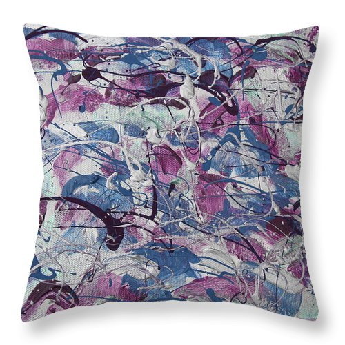 Abstract Throw Pillow featuring the painting Silliest by Laura Lane