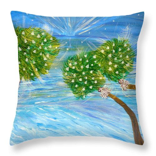 Christmas Card On The Coast Throw Pillow featuring the painting Silver Bells by Sara Credito