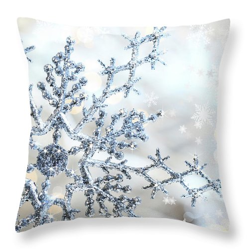 Background Throw Pillow featuring the photograph Silver Blue Snowflake by Sandra Cunningham