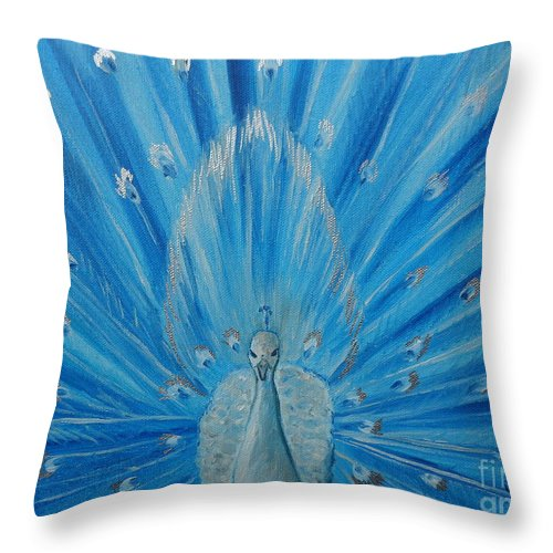 Peacock Throw Pillow featuring the painting Silver Peacock by Julie Brugh Riffey