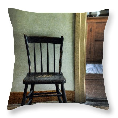 Chair Throw Pillow featuring the photograph Simple Antique Dining Chair In  An Old House by Jill - Simple Antique Dining Chair In An Old House Throw Pillow For Sale By