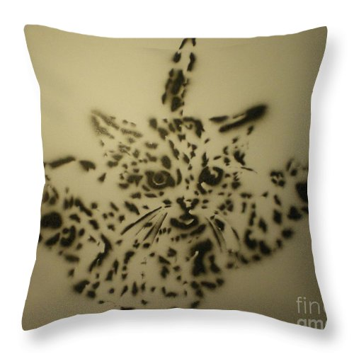 Jumping Cat Throw Pillow featuring the painting Simple Cat by Barry Boom