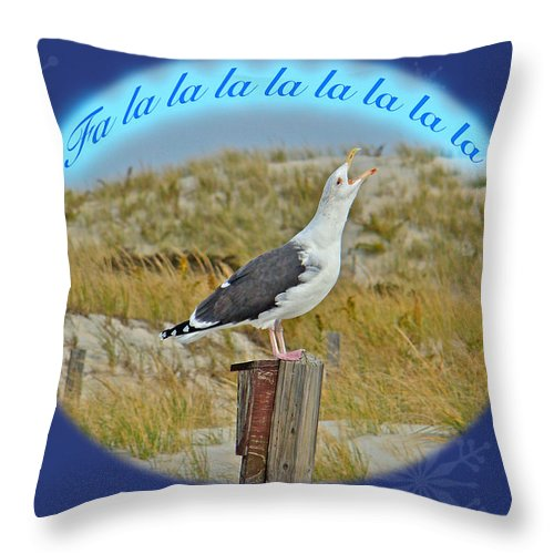 Christmas Throw Pillow featuring the photograph Singing Seagull Christmas Card by Mother Nature