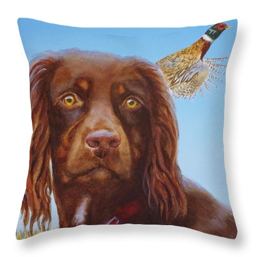 Throw Pillow featuring the painting Sir Elliot by Greg and Linda Halom