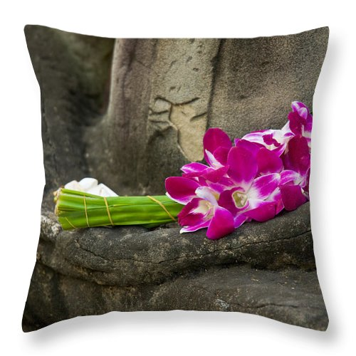 Ancient Throw Pillow featuring the photograph Sitting Buddha In Meditation Position With Fresh Orchid Flowers by U Schade