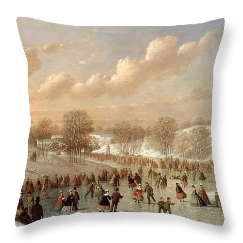 Skating Scene Throw Pillow featuring the painting Skating Scene by Johann Mongels Culverhouse