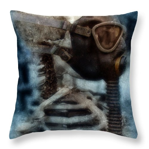 Gas Mask Throw Pillow featuring the photograph Skeleton In Gas Mask by Jill Battaglia