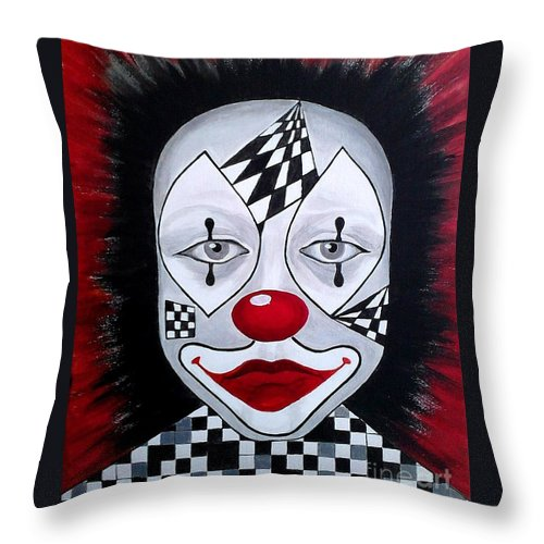 Clown Throw Pillow featuring the painting Skeptical...clown by Melina Mel P