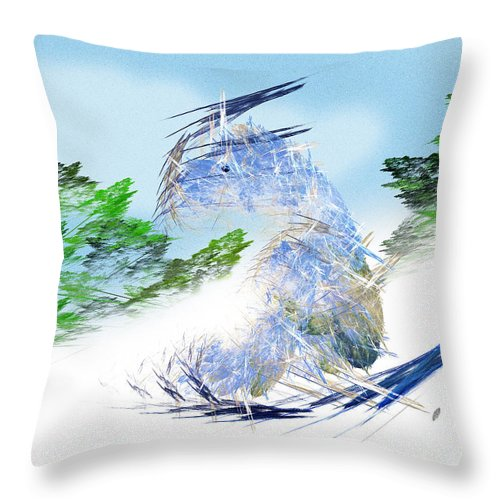 Fractal Art Throw Pillow featuring the digital art Ski Sledding Blue Polar Bear by Andee Design