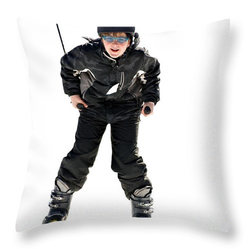 Young Throw Pillow featuring the photograph Skier Flying by Susan Leggett