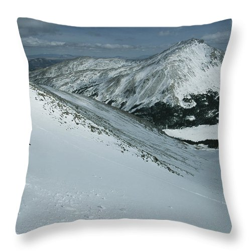 Model Released Photography Throw Pillow featuring the photograph Skier Phil Atkinson Begins His Descent by Tim Laman