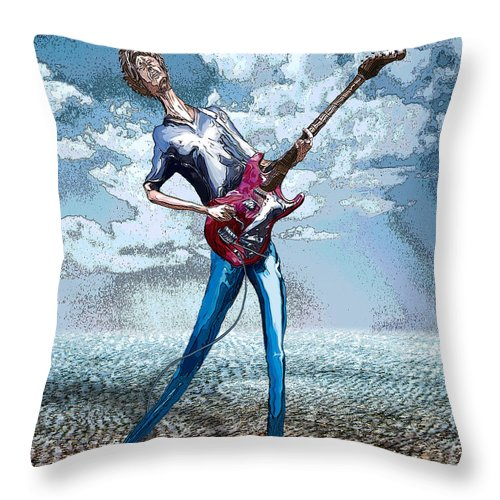 Music Throw Pillow featuring the digital art Skinny Guitar by Rick Borstelman