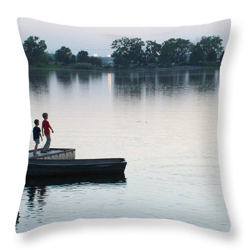 Bellevue Throw Pillow featuring the photograph Skipping Rocks by Stephen Estell