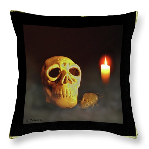 2d Throw Pillow featuring the photograph Skull And Candle by Brian Wallace