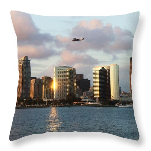 Cities Throw Pillow featuring the photograph Skyline From Coronado by Caroline Lomeli