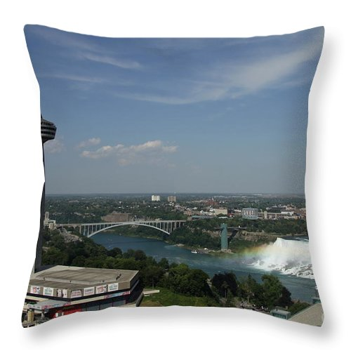 Skylone Tower Throw Pillow featuring the photograph Skylone Tower And Niagara Falls by Christiane Schulze Art And Photography