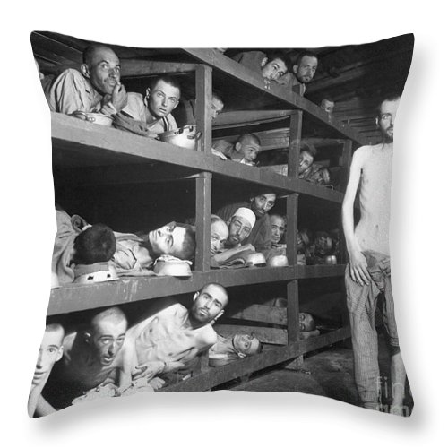 Horizontal Throw Pillow featuring the photograph Slave Laborers In A German by Stocktrek Images