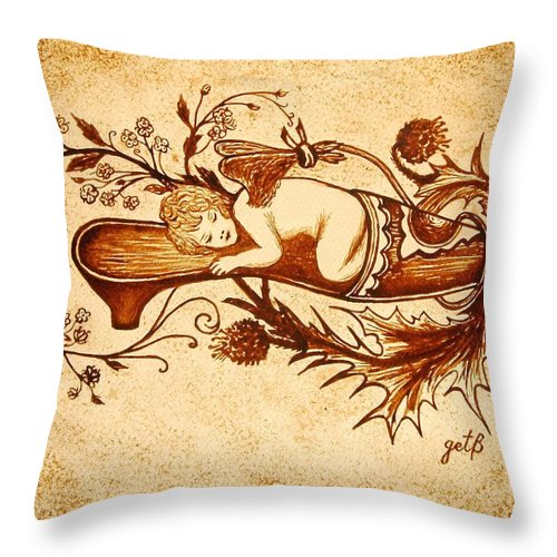 Angel Coffee Painting Throw Pillow featuring the painting Sleeping Angel Original Coffee Painting by Georgeta Blanaru