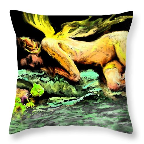 Sleep Throw Pillow featuring the painting Sleeping Fairy by Thomas Oliver