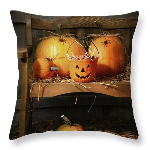 Agriculture Throw Pillow featuring the photograph Small And Big Pumpkins On An Old Bench by Sandra Cunningham
