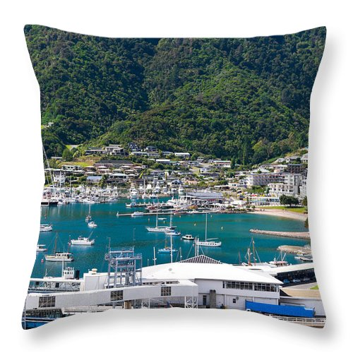 Architecture Throw Pillow featuring the photograph Small Idyllic Yacht Harbor by U Schade