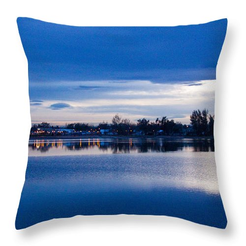 Lake Throw Pillow featuring the photograph Small Town Reflections by Dana Kern