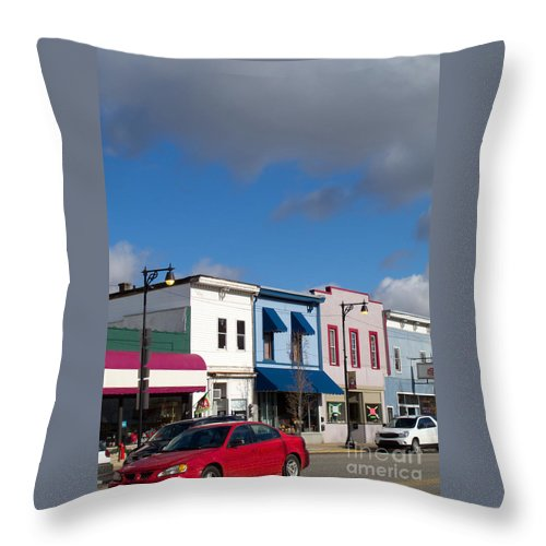 Stores Throw Pillow featuring the photograph Small Town Usa by Ann Horn