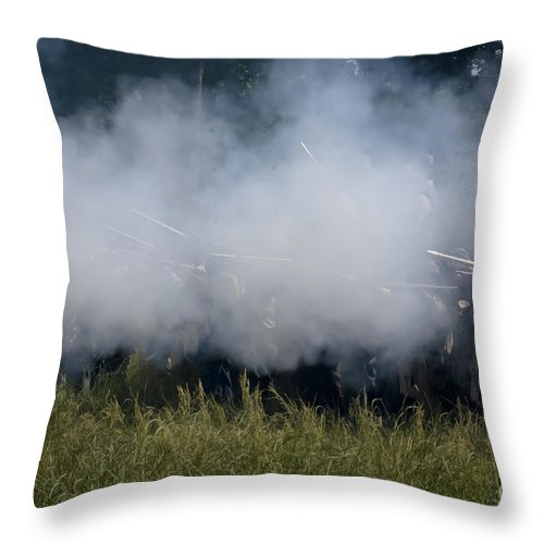 Civil War Throw Pillow featuring the mixed media Smoke And Steel by Kim Henderson