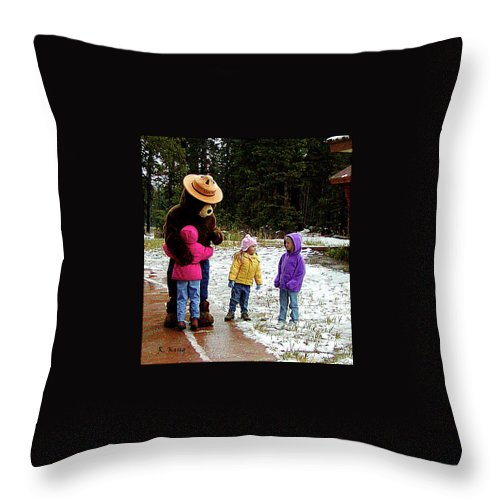 Roena King Throw Pillow featuring the photograph Smokey And The Girls by Roena King