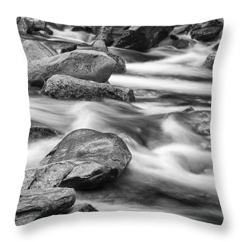 Art Throw Pillow featuring the photograph Smokey Mountain Stream Of Flowing Water Over Rocks by Randall Nyhof