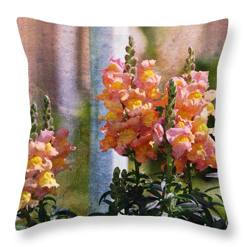 Snapdragons Throw Pillow featuring the photograph Snapdragons by Susanne Van Hulst