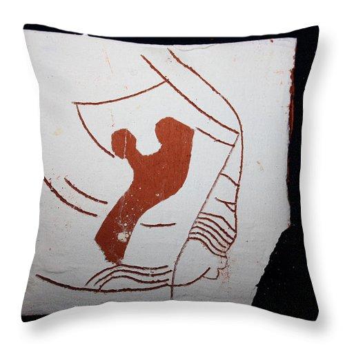 Jesus Throw Pillow featuring the ceramic art Snip - Tile by Gloria Ssali