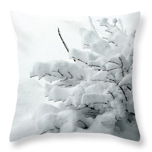 Snow Throw Pillow featuring the photograph Snow Abstract 2 by Barbara Griffin
